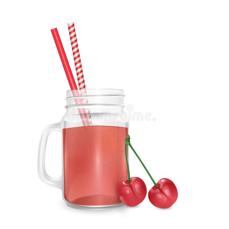 The jar of smoothies of red cherry and striped straw for cocktails isolated on white background for advertising your products. Drinks in restaurants and cafes vector illustration