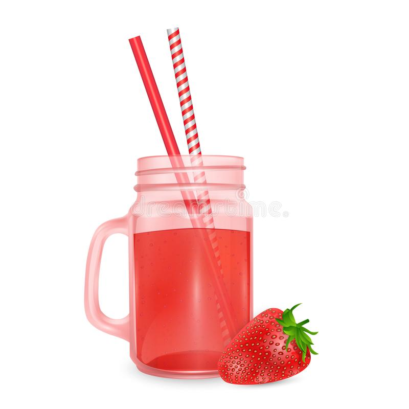 The jar of smoothies of red strawberry and striped straw for cocktails isolated on white background for advertising your products. Drinks in restaurants and stock illustration