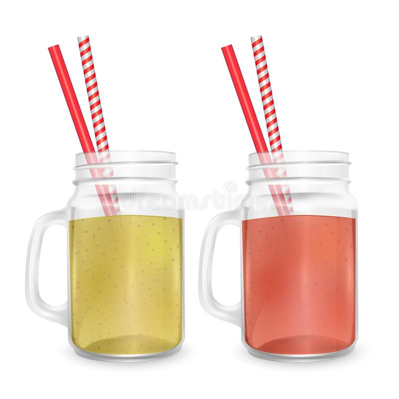 The jar for smoothies with striped straw for cocktails isolated on white background for advertising your products drinks in. Restaurants and cafes. 3D, Vector royalty free illustration