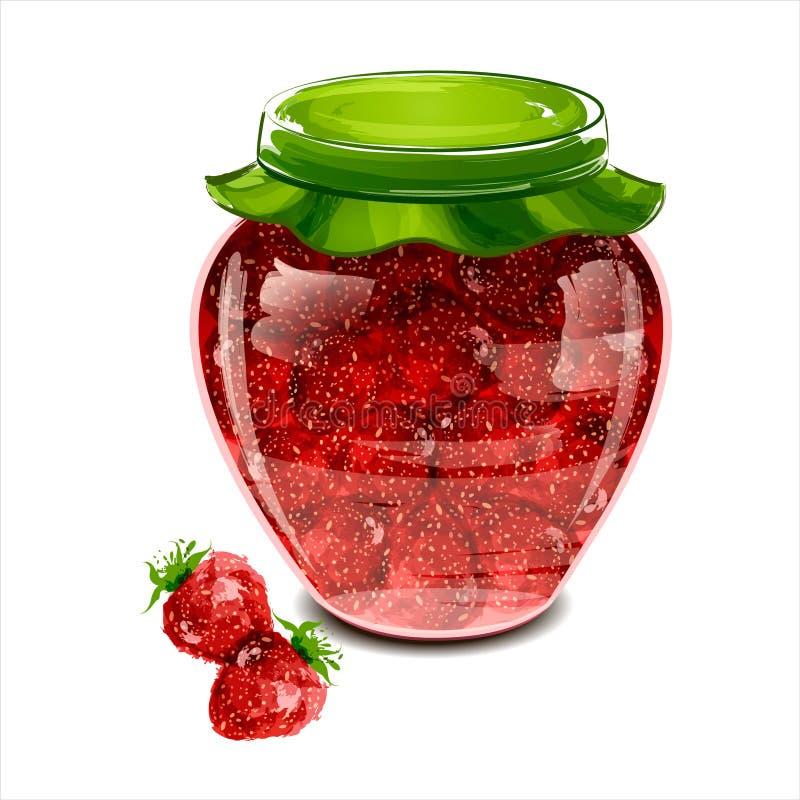 Jar of strawberry jam stock images