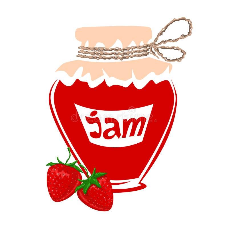 Jar of strawberry jam royalty free stock photo