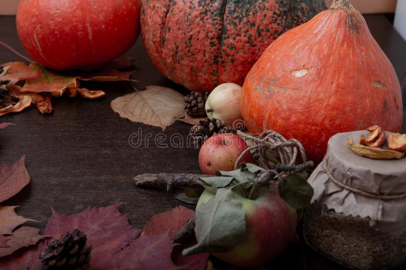 A jar of tea, autumn fruits and vegetables, dry apples, a branch, autumn leaves, a cold treatment in the fall royalty free stock photography