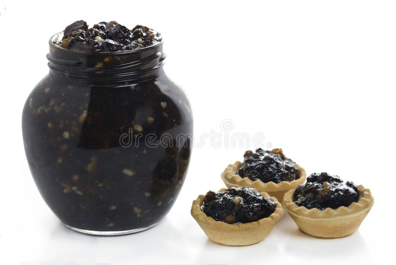 Jar of traditional christmas mincemeat royalty free stock photography