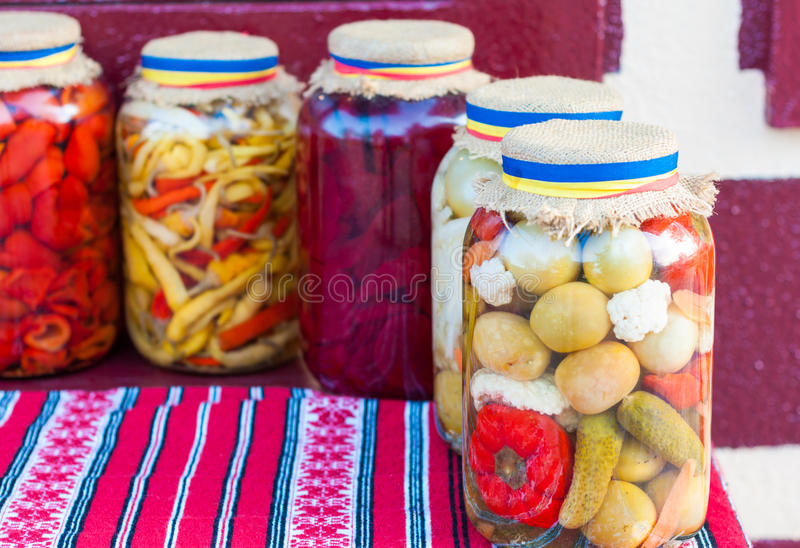 Jar of traditional pickles royalty free stock images