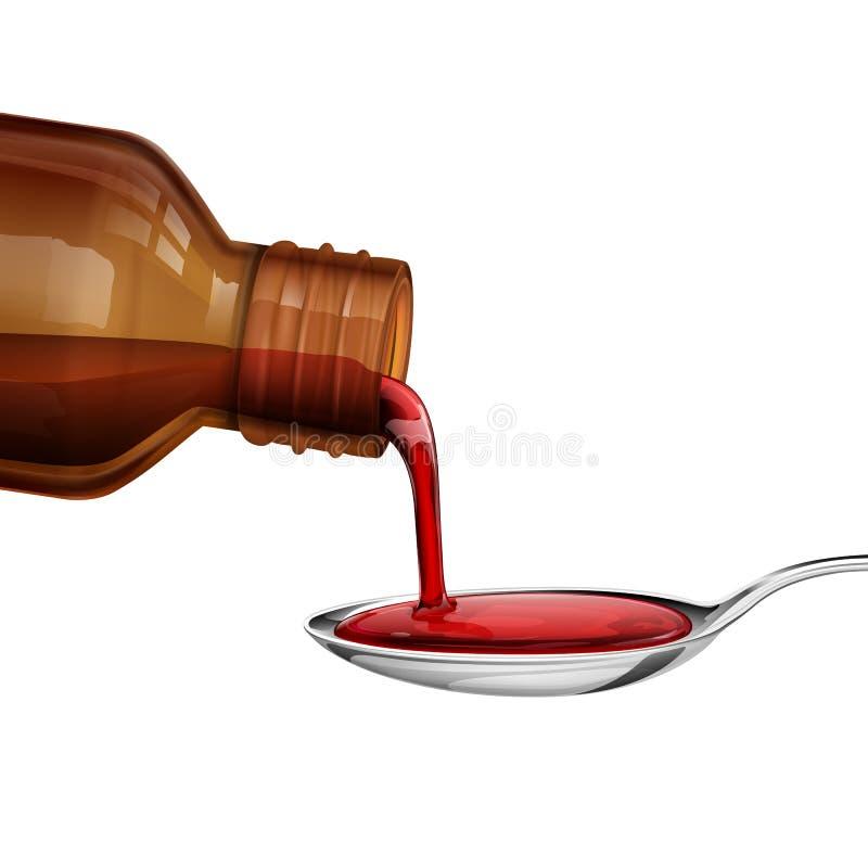 Jarabe de colada de la medicina de la botella en cuchara ilustración del vector