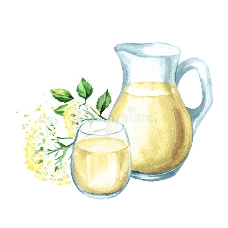 Jarabe hecho en casa del elderflower, bebida del verano Ejemplo dibujado mano de la acuarela, aislado en el fondo blanco stock de ilustración