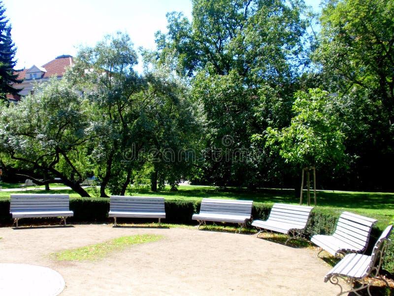 Jardín ajardinado hermoso por completo de flores florecientes hermosas y árboles y fuente ornamentales fotos de archivo