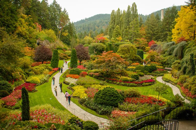 Jardín botánico de Butchart en la ciudad de Victoria en la isla de Vancouver, Canadá fotos de archivo