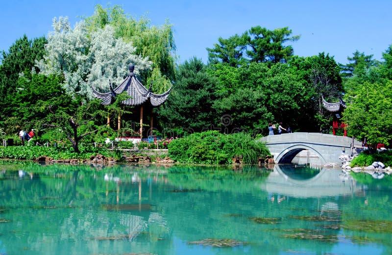 Jardín chino del jardín botánico del ` s de Montreal fotos de archivo