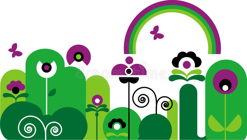 Jardín con la mariposa, el arco iris y las flores libre illustration