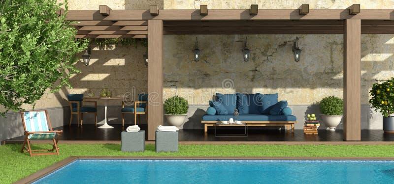 Jardín con la pérgola y la piscina ilustración del vector