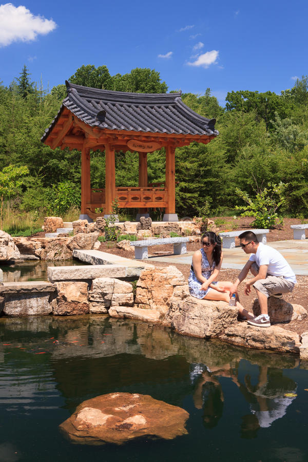 Jardín coreano, Meadowlark Botanical Gardens fotos de archivo libres de regalías