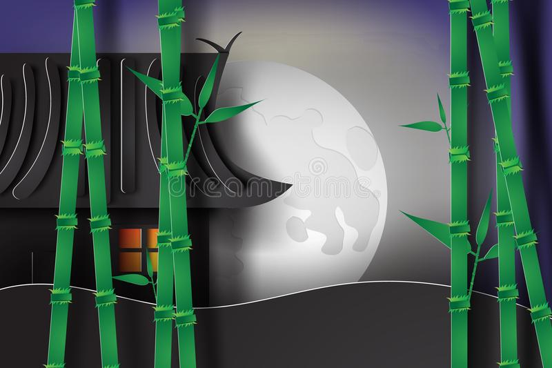 jardín de bambú en la noche con el estilo de Japón ilustración del vector