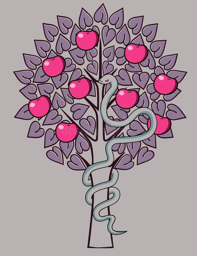 Jardín de Eden de la tentación ilustración del vector