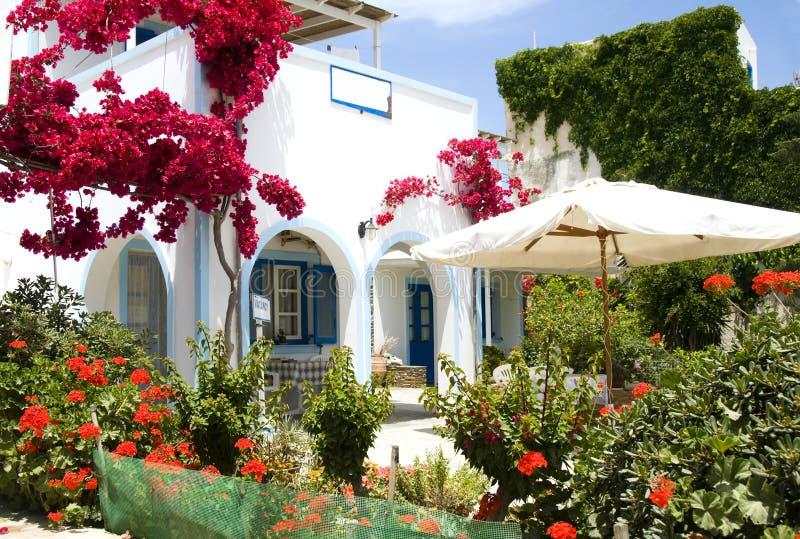 Jardín de flor hermoso de la configuración griega de la isla foto de archivo
