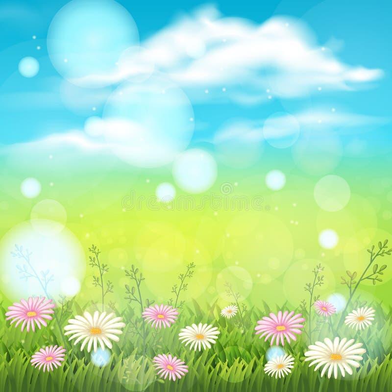 Jardín de flores y cielo azul ilustración del vector