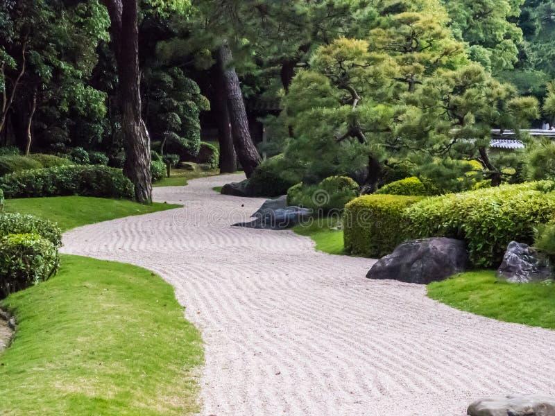 Jardín de Japón de la tradición, jardín del zen imagenes de archivo