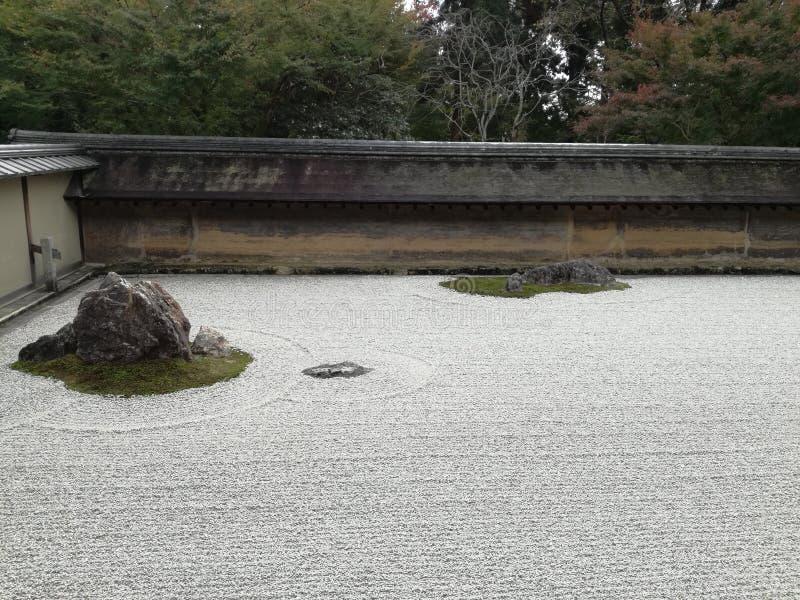 Jardín de Karesansui dentro del templo de an-ji del  de RyÅ imagen de archivo