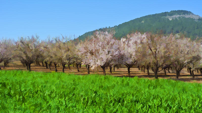 Jardín de la almendra floreciente libre illustration