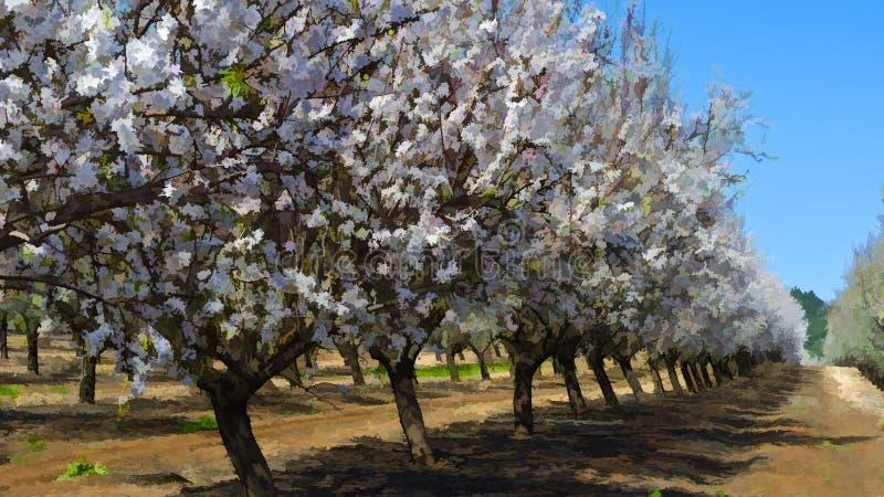 Jardín de la almendra floreciente ilustración del vector