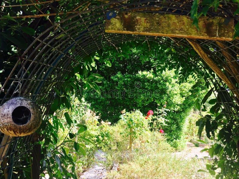 Jardín de la cabaña del país imagen de archivo libre de regalías