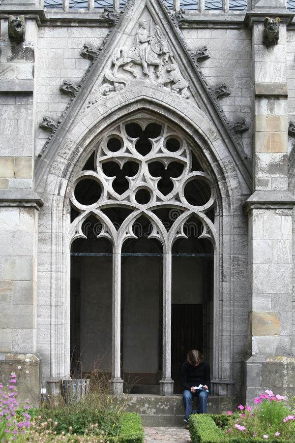 Jardín de la catedral, de Utrecht, o de Dom Church de San Martín imagen de archivo