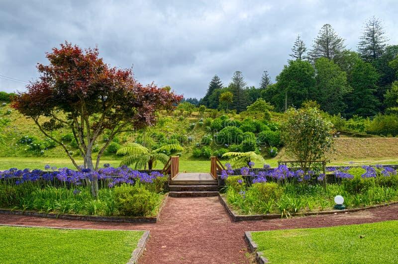 Jardín de la comunidad de la ciudad de Furnas, isla de Miguel del sao, Azores, puerto foto de archivo