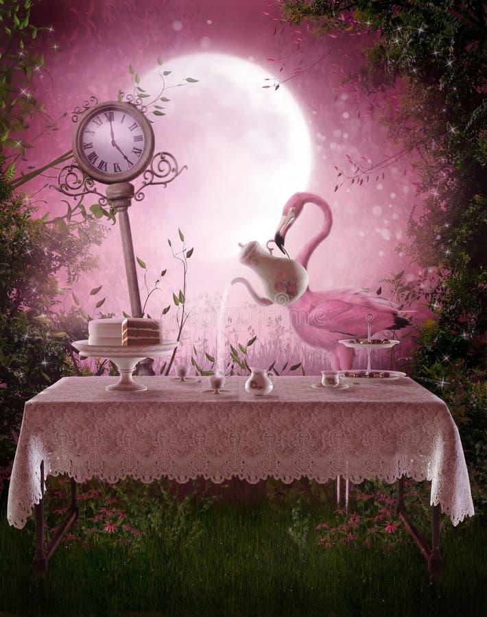 Jardín de la fantasía con un flamenco stock de ilustración