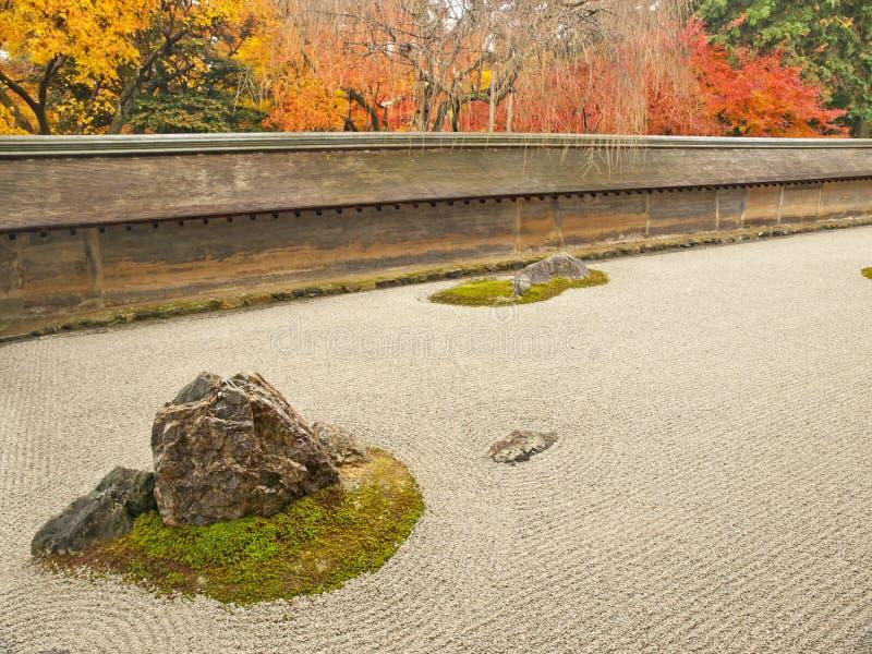 Jardín de roca famoso del templo de Ryoan-ji, Kyoto imagen de archivo