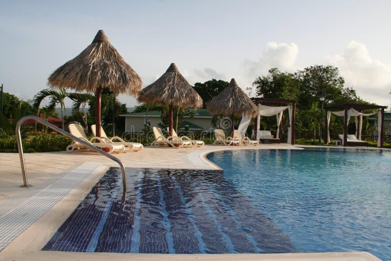 Jardín del hotel de lujo con la opinión de la piscina fotos de archivo