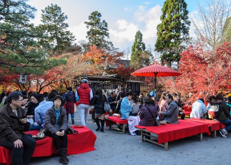 Jardín del otoño del té en Eikando o templo de Zenrinji en Kyoto, Japón fotos de archivo