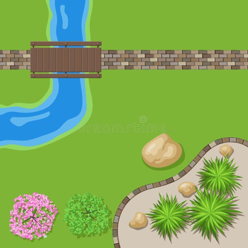 Jardín del paisaje de la visión superior stock de ilustración