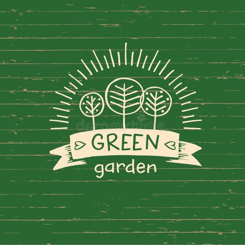 Jardín del verde del logotipo del vector Alimento biológico del logotipo Elemento drenado mano ilustración del vector
