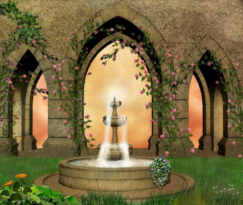 Jardín fantástico del castillo stock de ilustración