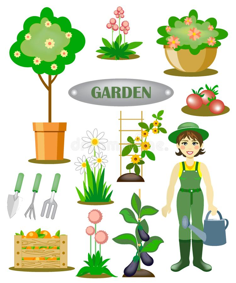 Jardín fijado con un jardinero stock de ilustración
