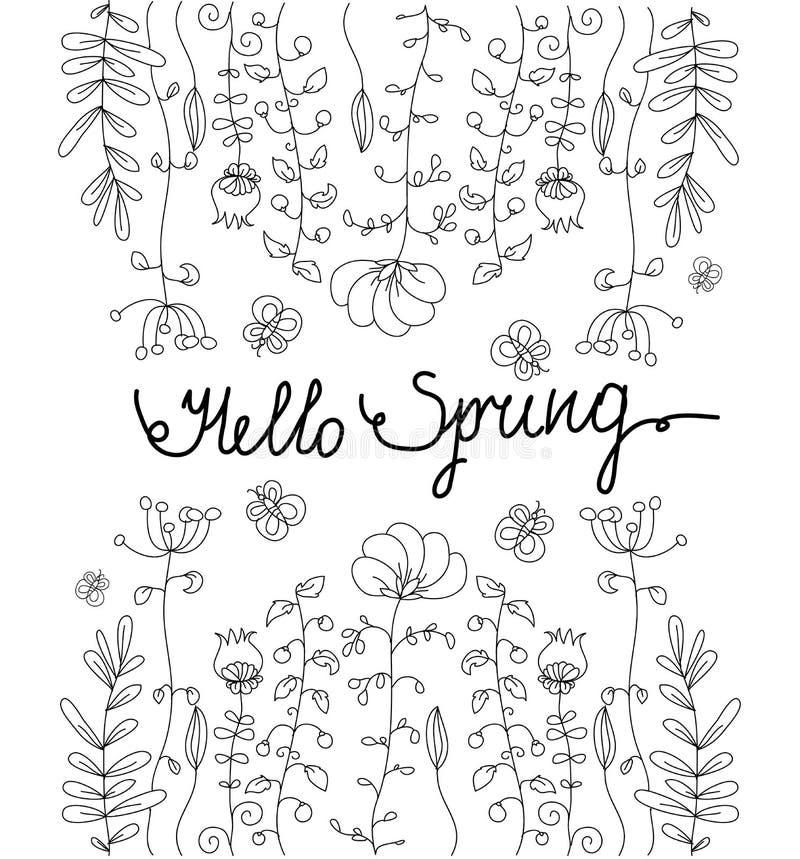 Jardín floral monocromático con la mariposa ilustración del vector