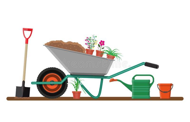 Jardín formal con la carretilla, flores, pala ilustración del vector