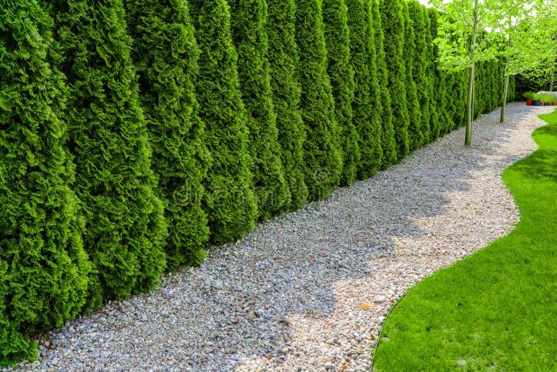 Jardín formal con una trayectoria de pequeñas piedras, del seto y del césped verde imágenes de archivo libres de regalías