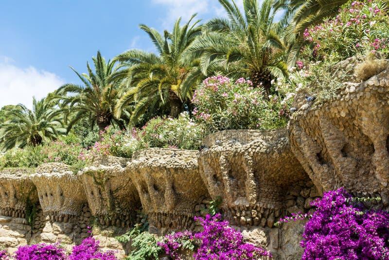 Jardín hermoso con las palmas y la buganvilla en el parque Guell, Barcelona, España fotos de archivo