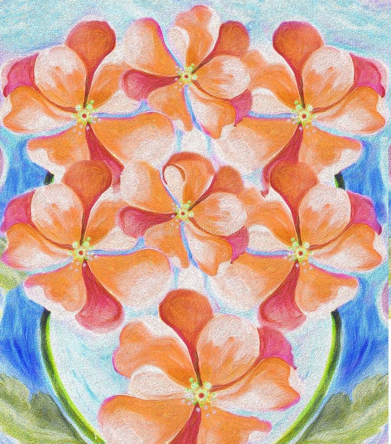 Jardín impresionista del estilo de la planta de la flor de la impaciencia stock de ilustración