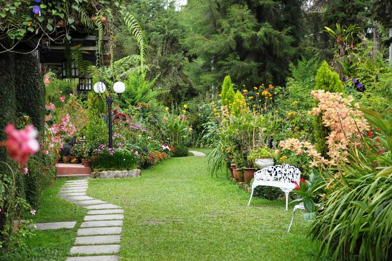 Jard n ingl s foto de archivo imagen de pared gardening for Jardin en ingles