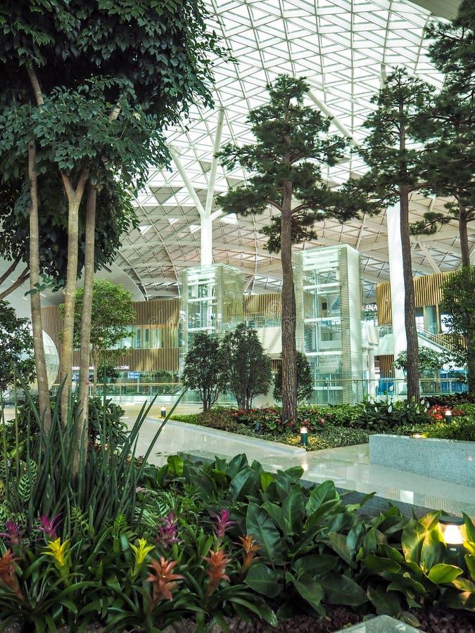 Jardín interior en el terminal nuevamente abierto 2 de Inchon Internat imágenes de archivo libres de regalías