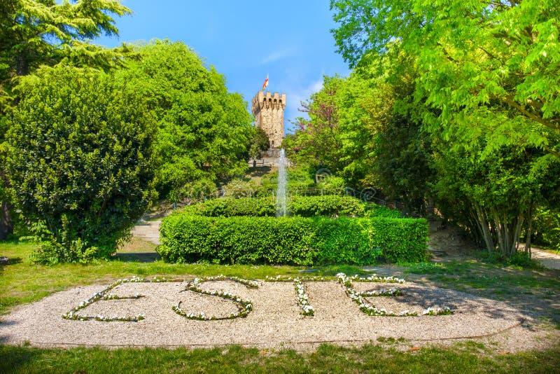 Jardín italiano del castillo de Carrarese en área euganean de las colinas de la ciudad de Este fotografía de archivo libre de regalías