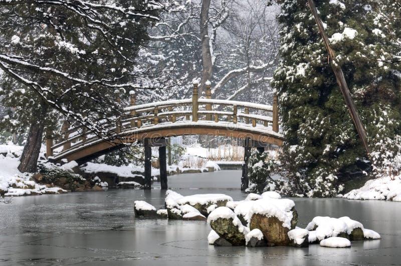Jardín japonés en invierno imagen de archivo libre de regalías