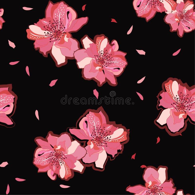 Jardín japonés flores de Sakura floreciente rosado o de la flor de cerezo Vector el modelo inconsútil Ejemplo para las telas, y t ilustración del vector