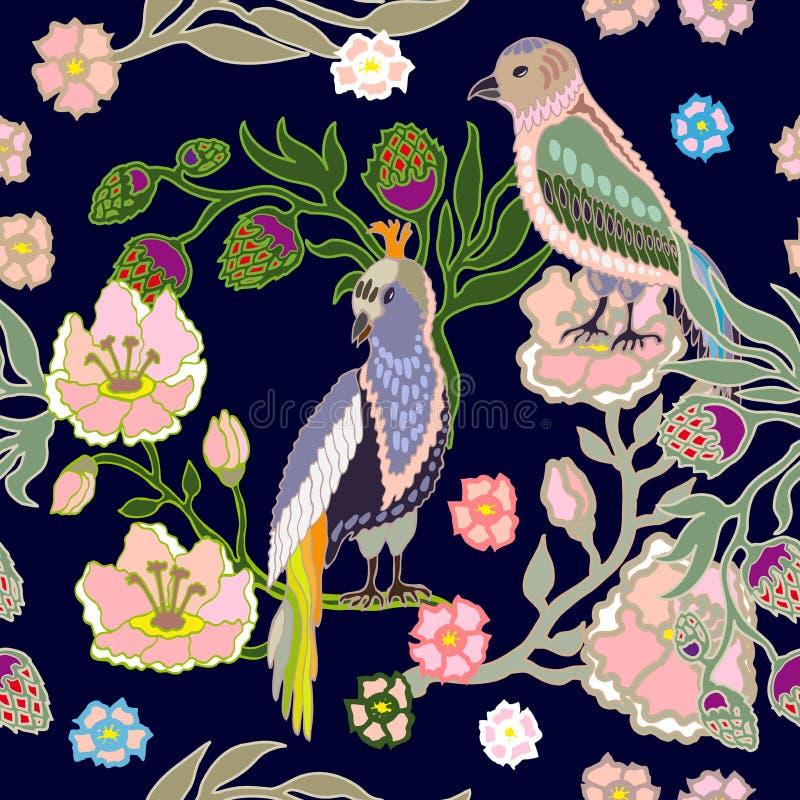 Jardín japonés Pájaros y flores stock de ilustración