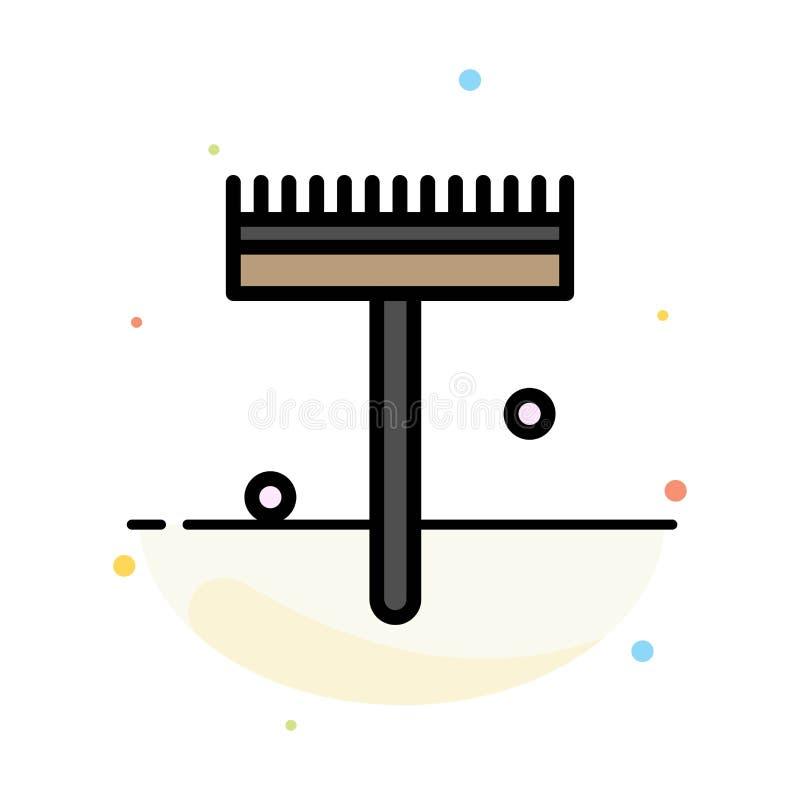 Jardín, jardinero, rastrillo, plantilla plana del icono del color del extracto de la pala libre illustration