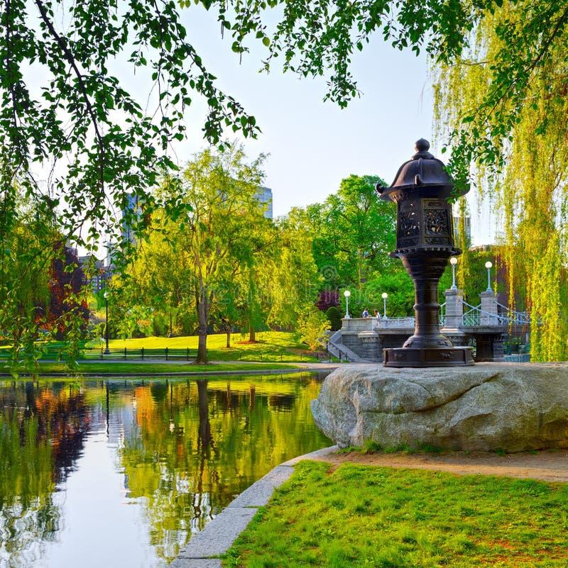 Jardín público de Boston en madrugada fotografía de archivo