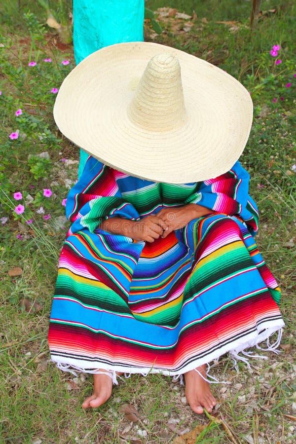 Jardín perezoso mexicano de la siesta del poncho del hombre del sombrero del sombrero imagen de archivo