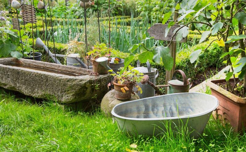 Jardín romántico viejo de la granja en el verano fotos de archivo libres de regalías